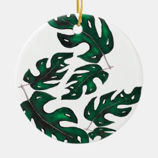leaf pattern round ceramic decoration