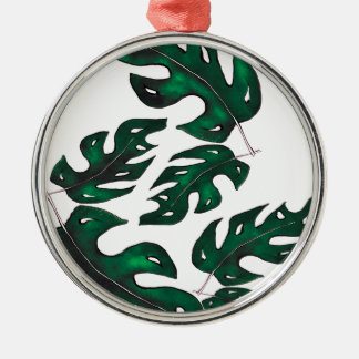 leaf pattern Silver-Colored round decoration
