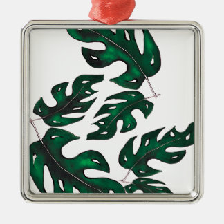 leaf pattern Silver-Colored square decoration