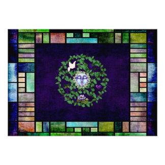 Leaf Pentagram With Moon Custom Invitations