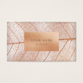 Leaf Pink Rose Gold Peach Glass Gold Glam Business Card