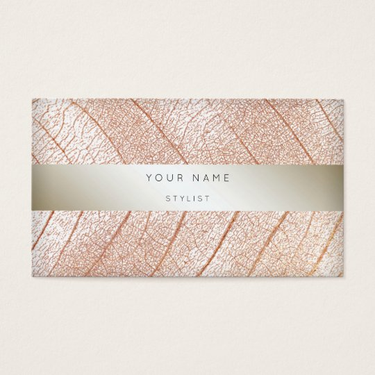Leaf Pink Rose Gold Pearl Delicate Script Business