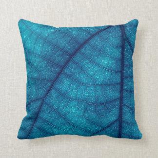 Leaf Print-Blue Throw Pillow