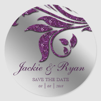 Leaf Save Date Wedding Stickers Purple Sparkle