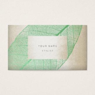Leaf Skeletron Mint Ivory Pastel Delicate Glam Business Card