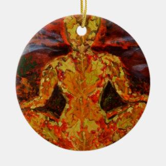 Leaf Sprite Meditating Round Ceramic Decoration