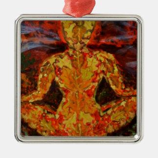 Leaf Sprite Meditating Silver-Colored Square Decoration