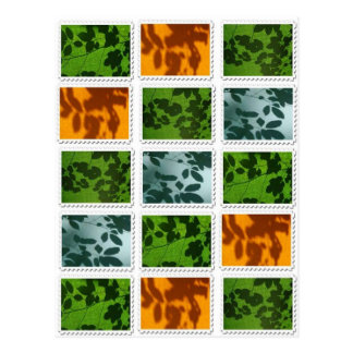 Leaf Stamp Print Postcard
