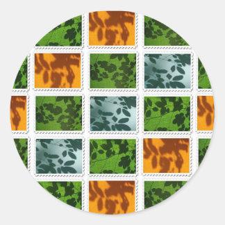 Leaf Stamp Print Round Sticker
