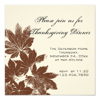 Leaf Stamp Thanksgiving Dinner Invitation