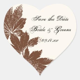 Leaf Stamp Wedding Save the Date Envelope Seals Stickers