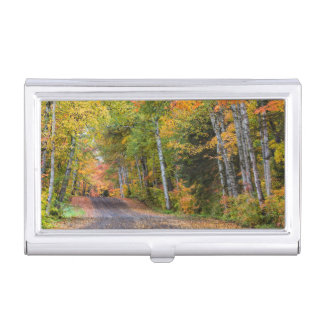 Leaf Strewn Gravel Road With Autumn Color Business Card Holder