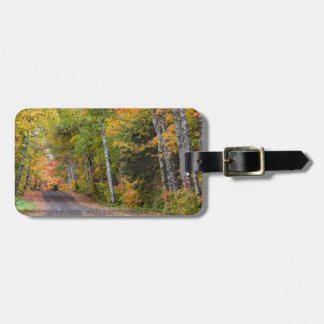 Leaf Strewn Gravel Road With Autumn Color Luggage Tag