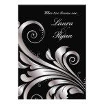 Leaf Swirl Wedding Invitation Black Silver