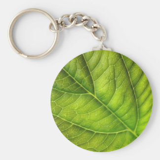 leaf texture basic round button key ring