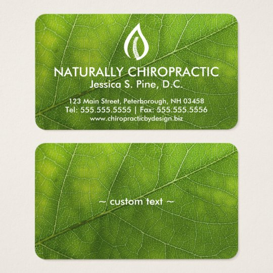 Leaf Texture/Logo Chiropractic Business Cards