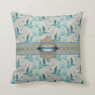 Leafy beige American MoJo Pillow Throw Cushion