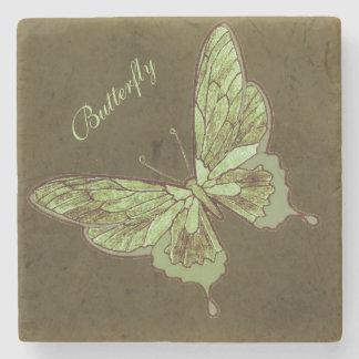 Leafy Camo Butterfly Stone Coaster