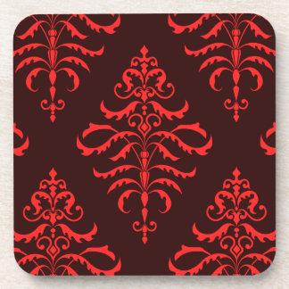 Leafy Damask - Red & Burgundy I Beverage Coaster