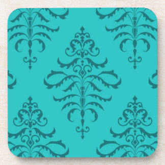 Leafy Damask - Teal II Coaster