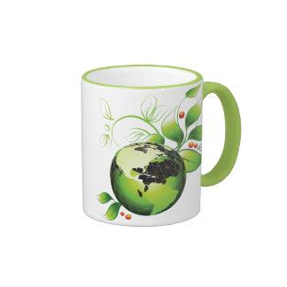 Leafy Globe Ringer Coffee Mug