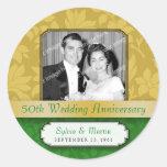 Leafy Gold Damask 50th Anniversary Round Sticker