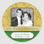 Leafy Gold Damask 50th Anniversary Round Stickers