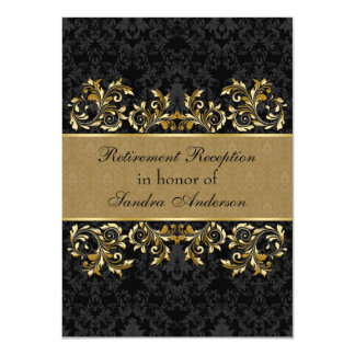 Leafy golden swirls, black damask Retirement 11 Cm X 16 Cm Invitation Card