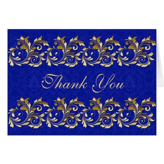 Leafy golden swirls, blue damask Thank You Card