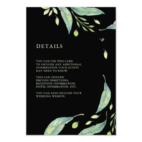 Leafy Green | Black Wedding Guest Information Card