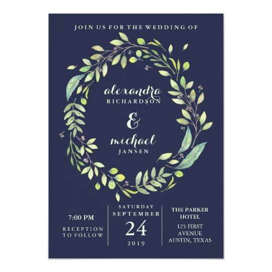 Leafy Green | Dark Blue Watercolor Wreath Wedding
