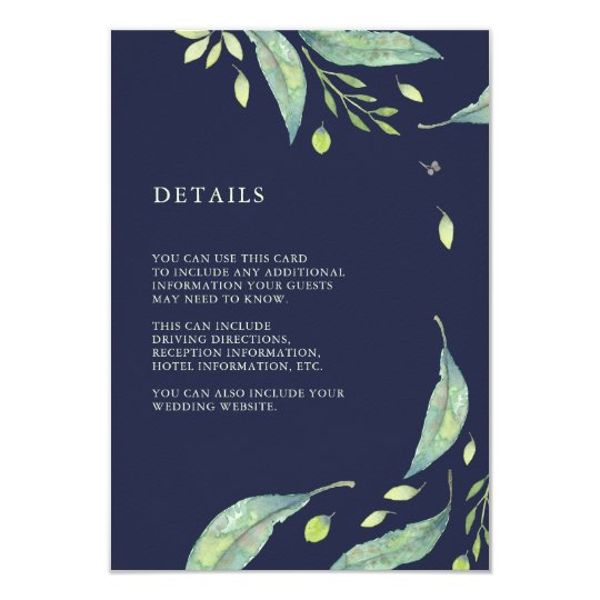 Leafy Green | Dark Blue Wedding Guest Information Card