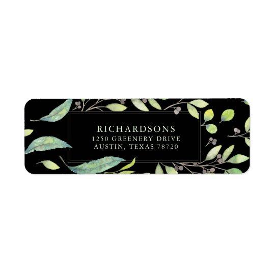 Leafy Green | Trendy Watercolor on Black Return Address Label