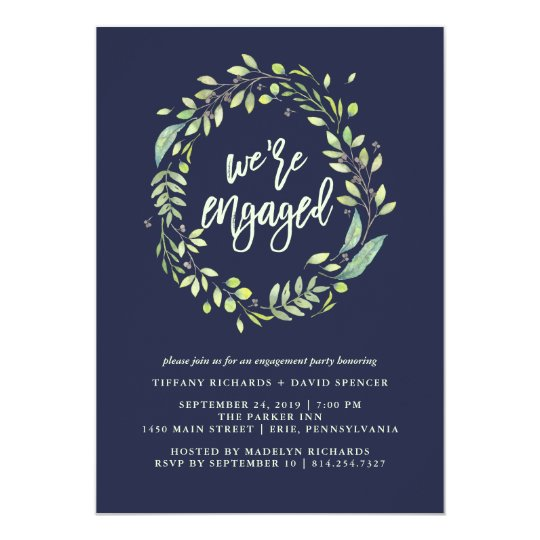 Leafy Green Watercolor Engagement Party Dark Blue Card