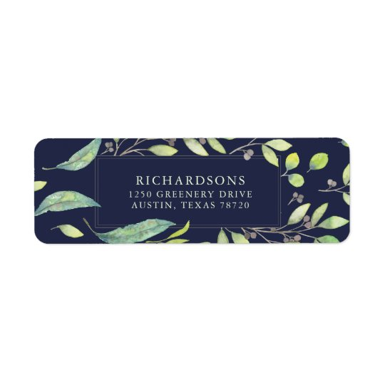 Leafy Green Watercolor on Midnight Blue Return Address Label