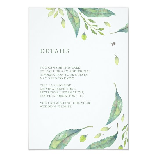 Leafy Green | Watercolor Wedding Guest Information Card