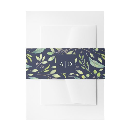 Leafy Green Watercolor Wedding Monogram Dark Blue Invitation Belly Band