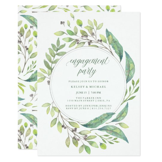 Leafy Green | Watercolor Wreath Engagement Party Card