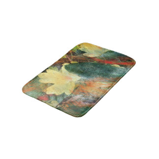Leafy Grunge Autumn Colors and Textures Bath Mat