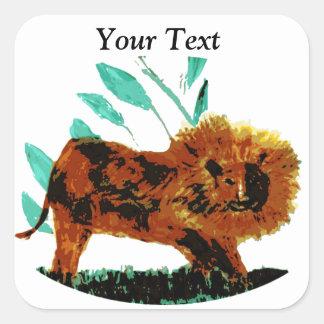 Leafy Lion Wild Animal illustration Square Sticker