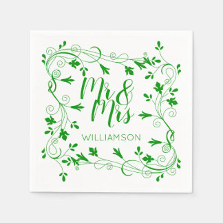 Leafy Nature Mr & Mrs Clover Green Botanical Disposable Napkin