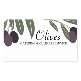 leafy olives branch cooking chef business card