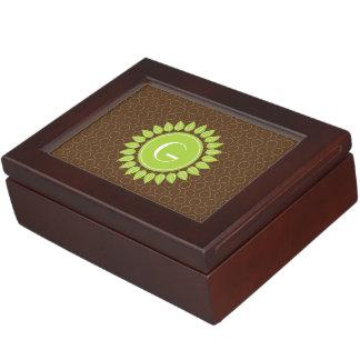 Leafy personalized monogram with circle pattern keepsake box
