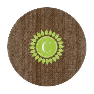 Leafy personalized monogram with circles cutting board