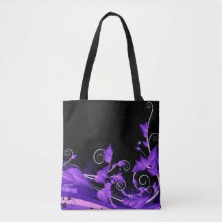 Leafy Purple Vines Tote Bag