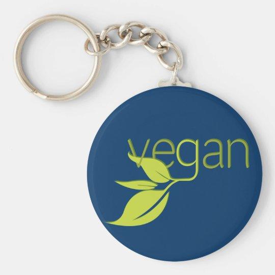 Leafy Vegan Basic Round Button Key Ring