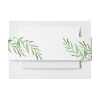 Leafy Watercolor Foliage Invitation Belly Band