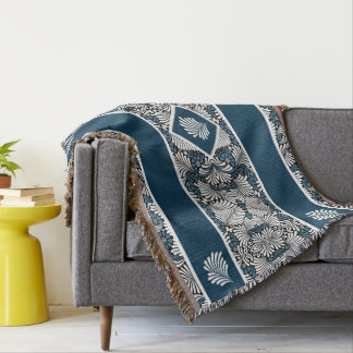 Leafy White Tropical Palm Fronds with Blue Throw Blanket