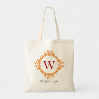 Leafy wreath brown monogram personalized tote tote bags
