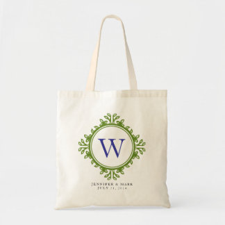 Leafy wreath green monogram personalized tote